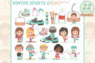 Cute Winter Sports Clipart Set Graphic Illustrations By clipartfables