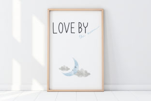 Print on Demand: Cute Wall Art-Love by the Moon-Kid Room Graphic Illustrations By Pui Pui
