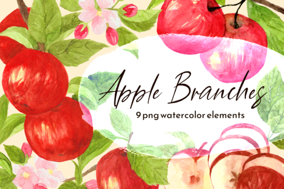 Print on Demand: Fall Apple Branch Watercolor Clipart Set Graphic Illustrations By roselocket