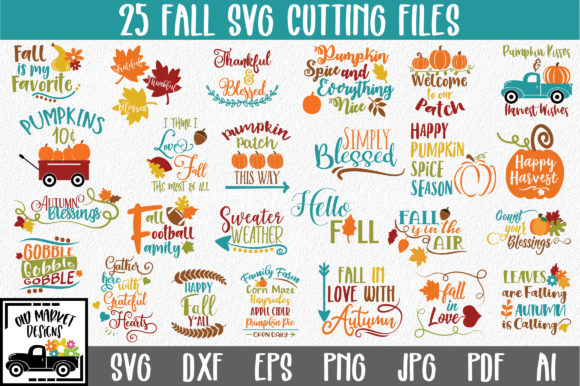 Print on Demand: Fall Bundle Graphic Crafts By oldmarketdesigns