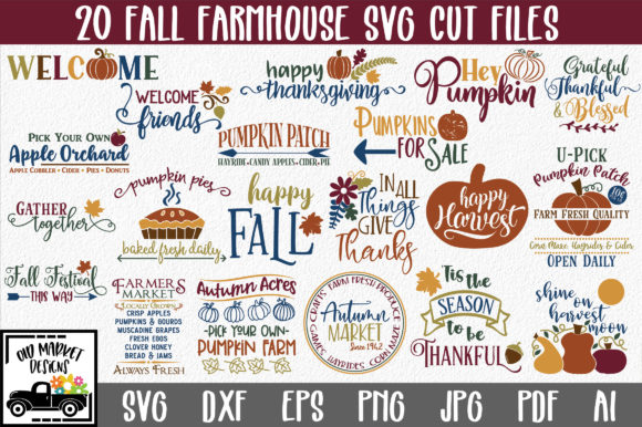 Print on Demand: Fall Farmhouse Bundle Graphic Crafts By oldmarketdesigns