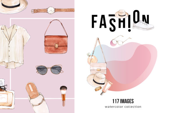 Fashion Collection Watercolor Graphic Illustrations By WatercolorEps