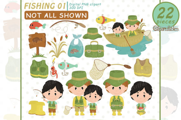 Fishing Clipart, Cute Father's Day Art Graphic Illustrations By clipartfables