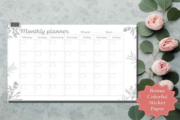Print on Demand: Floral Planner Undated Monthly Printable Graphic KDP Interiors By Creative Crafts