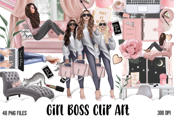Girl Boss Clipart - Planner Fashion Grafik Illustrationen von Ohana Papers