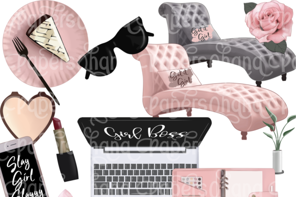 Girl Boss Clipart - Planner Fashion Graphic Downloadable Digital File