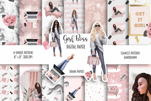 Girl Boss Digital Paper Pack Patterns Graphic Illustrations By Ohana Papers
