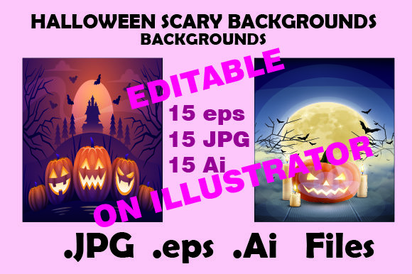 Halloween Backgrounds Editable Graphic Illustrations By KDP_Interior_101