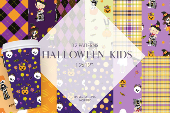 Print on Demand: Halloween Kids Graphic Patterns By Prettygrafik