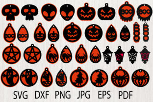 Print on Demand: Halloween Tear Drop Earrings Graphic Crafts By yulnniya