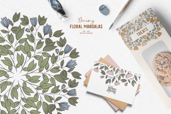 Print on Demand: Hand Drawn Floral Clipart | Mandala Graphic Illustrations By Wallifyer