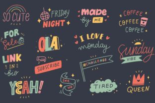 Hand Drawn Social Media Stickers Set Graphic Illustrations By Big Barn Doodles