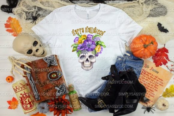 Print on Demand: Happy Halloween Floral Sugar Skull Graphic Illustrations By Simply Sassy CC