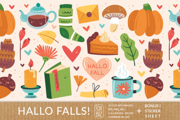 Print on Demand: Hello Falls. Digital Prints. Autumn. Graphic Illustrations By FoxBiz