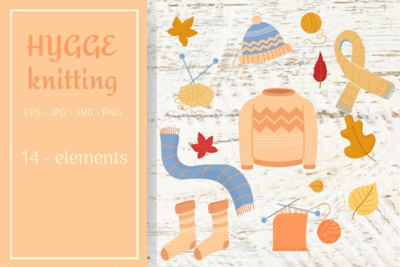 Hygge Knitting Collection Grafik Objekte von sombrecanari