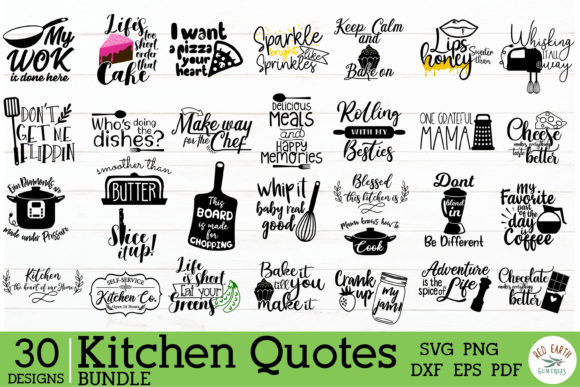 Kitchen Quotes Bundle  Graphic Crafts By redearth and gumtrees