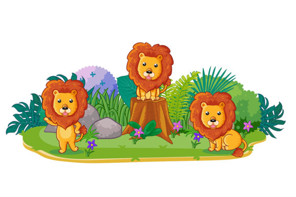 Lions Are Playing Together in the Garden Graphic Illustrations By Aghiez