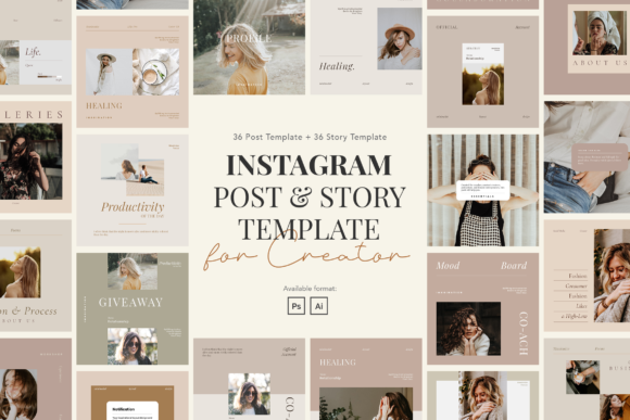 Print on Demand: Minimalist Instagram Post & Story Graphic UX and UI Kits By peterdraw
