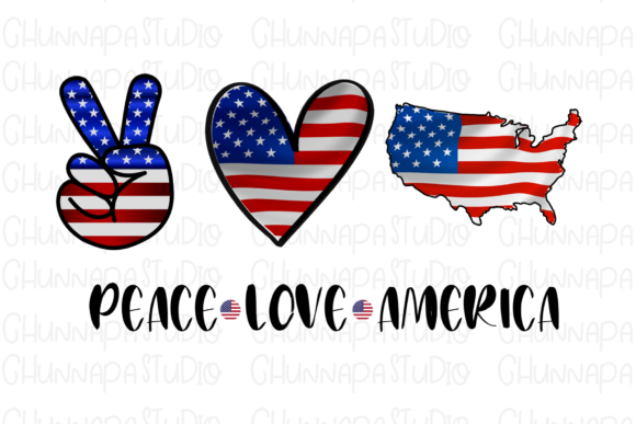 Print on Demand: Peace Love America Sunflower Sublimation Graphic Print Templates By CSDesign