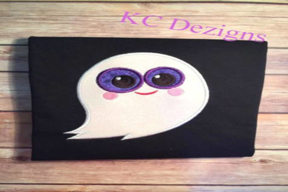 Purple Eyed Ghost Applique Halloween Embroidery Design By karen50