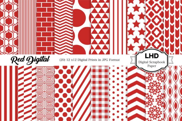 Red Digital Paper Pack Graphic Patterns By LeskaHamatyDesign