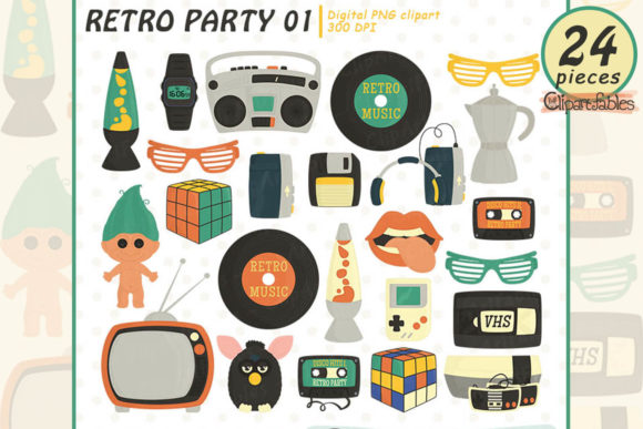 Retro Party Clipart, Troll and Furby Graphic Illustrations By clipartfables
