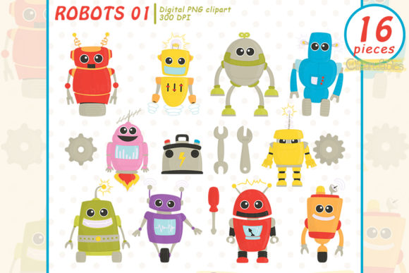 Robot Friends Clipart Graphic Illustrations By clipartfables