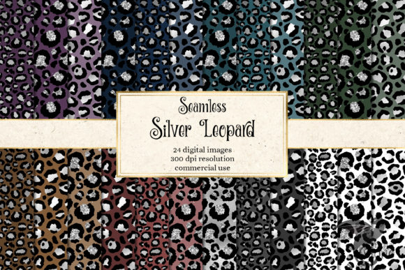 Print on Demand: Silver Leopard Digital Paper Graphic Backgrounds By Digital Curio