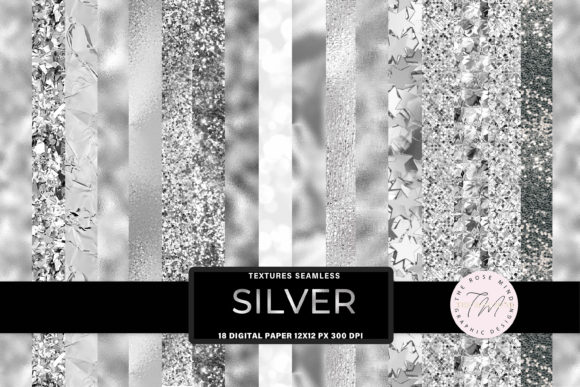 Print on Demand: Silver Textures Seamless Graphic Backgrounds By The Rose Mind