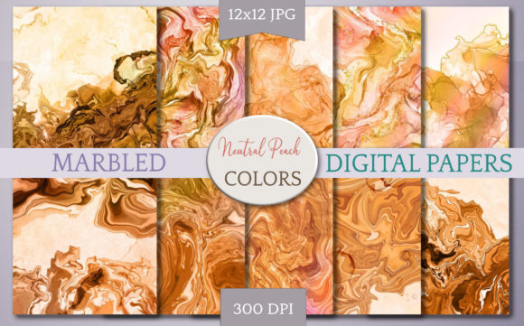 Print on Demand: Textured Digital Paper - Neutral Peach Graphic Backgrounds By Digital Town