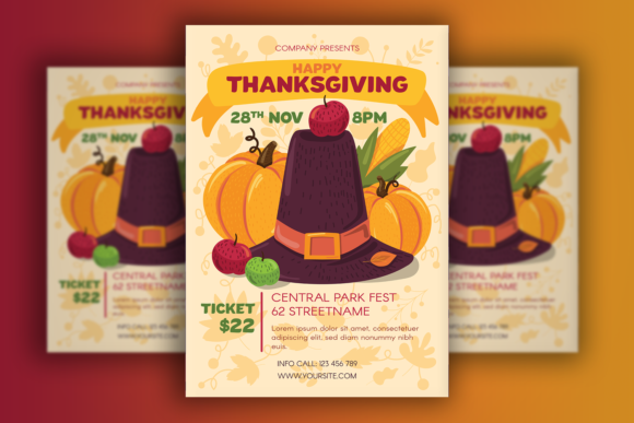 Print on Demand: Thanksgiving Poster with Pilgrim Hat Graphic Print Templates By barsrsind