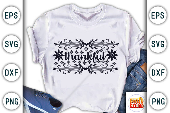 Print on Demand: Thanksgiving Quote Design, Thankful Graphic Print Templates By CraftStudio