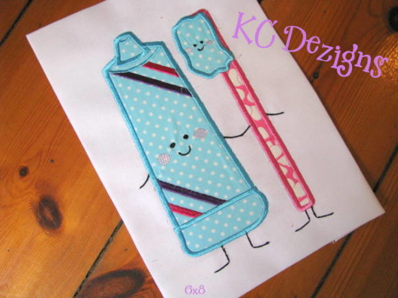 Toothpaste and Toothbrush Applique Boys & Girls Embroidery Design By karen50