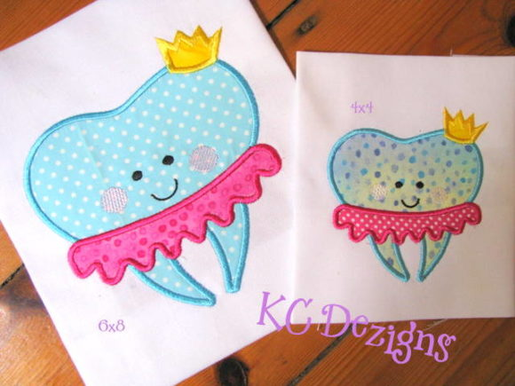 Tutu and Crown Tooth Boys & Girls Embroidery Design By karen50