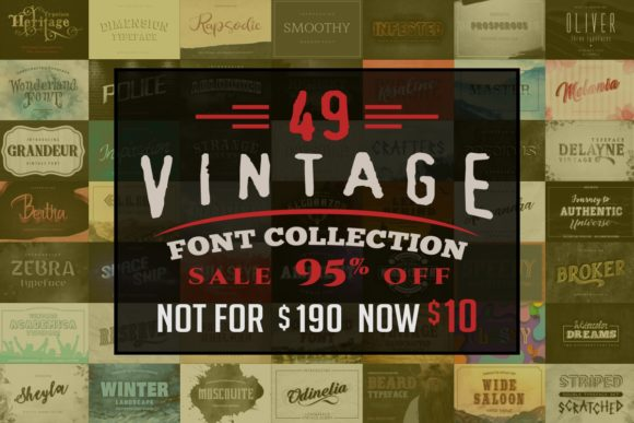 Print on Demand: Vintage Font Collection Bundle  By bywahtung