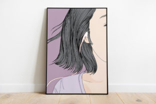 Print on Demand: Wall Art Women Listen to Music with Love Graphic Illustrations By Saydung89