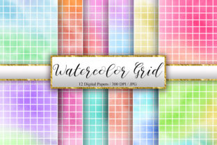 Print on Demand: Watercolor White Grid Digital Papers Graphic Backgrounds By PinkPearly