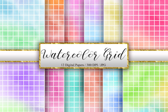Watercolor White Grid Digital Papers Graphic Backgrounds By PinkPearly