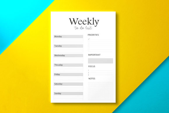 Weekly to Do List Classic Template PDF Graphic KDP Interiors By Nickkey Nick