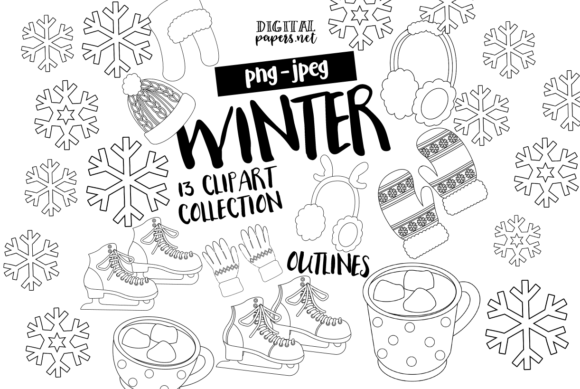 Print on Demand: Winter, Ice Skating Outlines Graphic Illustrations By DigitalPapers