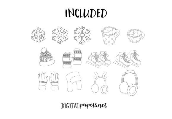 Winter, Ice Skating Outlines Graphic Download