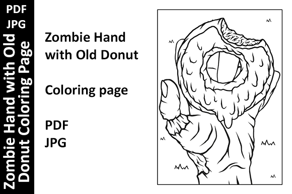 Zombie Hand with Old Donut Coloring Page Graphic Coloring Pages & Books By Oxyp