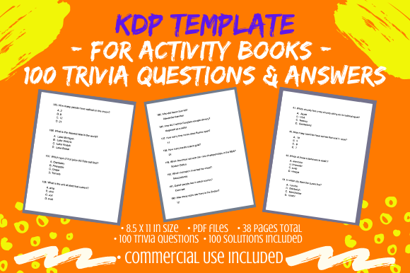 Print on Demand: 100 8.5x11 Trivia Questions & Solutions Graphic KDP Interiors By Tomboy Designs