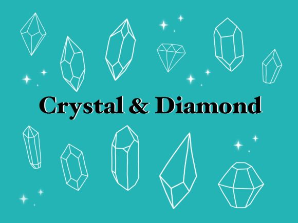 13 Crystal and Diamond Procreate Stamps Graphic Brushes By secondjul