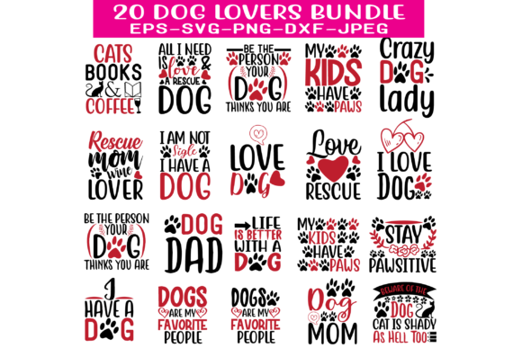 Print on Demand: 20 Dog Lovers Bundle Graphic Crafts By Design Store Bd.Net