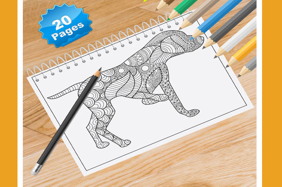 20 Dogs and Puppies Coloring Pages Graphic Coloring Pages & Books Adults By Coloring World - Image 1