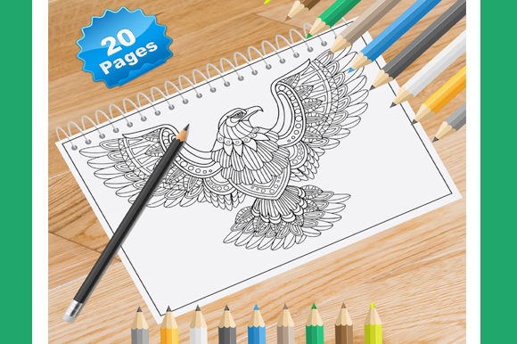 20 Eagle Coloring Pages for Adults Graphic Coloring Pages & Books Adults By Coloring World - Image 1
