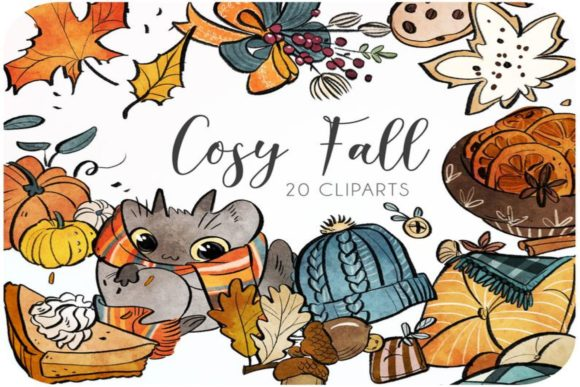 20 Fall Watercolor Clipart Set Graphic Icons By Alphabelli