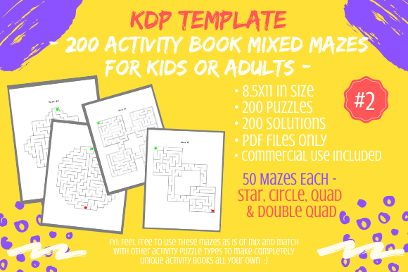 Print on Demand: 200 Mazes 4 Activity Books 4 Shapes #2 Graphic KDP Interiors By Tomboy Designs - Image 1