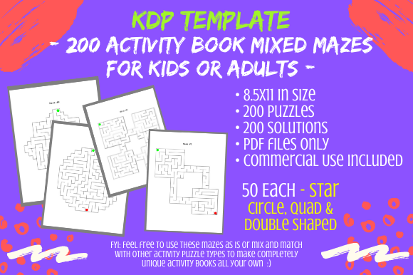 Print on Demand: 200 Mixed Shaped Mazes 4 Activity Books Graphic KDP Interiors By Tomboy Designs